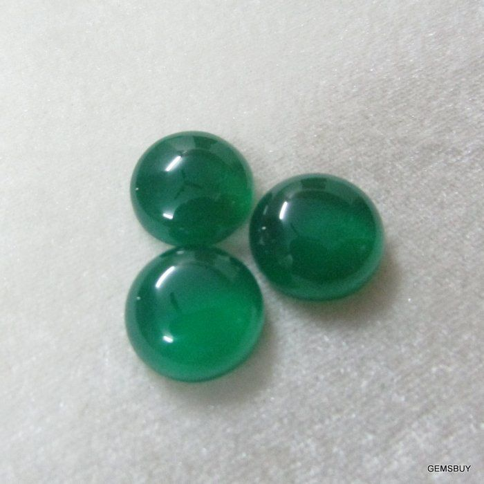 Quality Calibrated Size Wholesale Natural Green Onyx Round Cabochon Loose Gemstone 5 pieces 8mm Green Onyx Cabochon Round Gemstone AAA