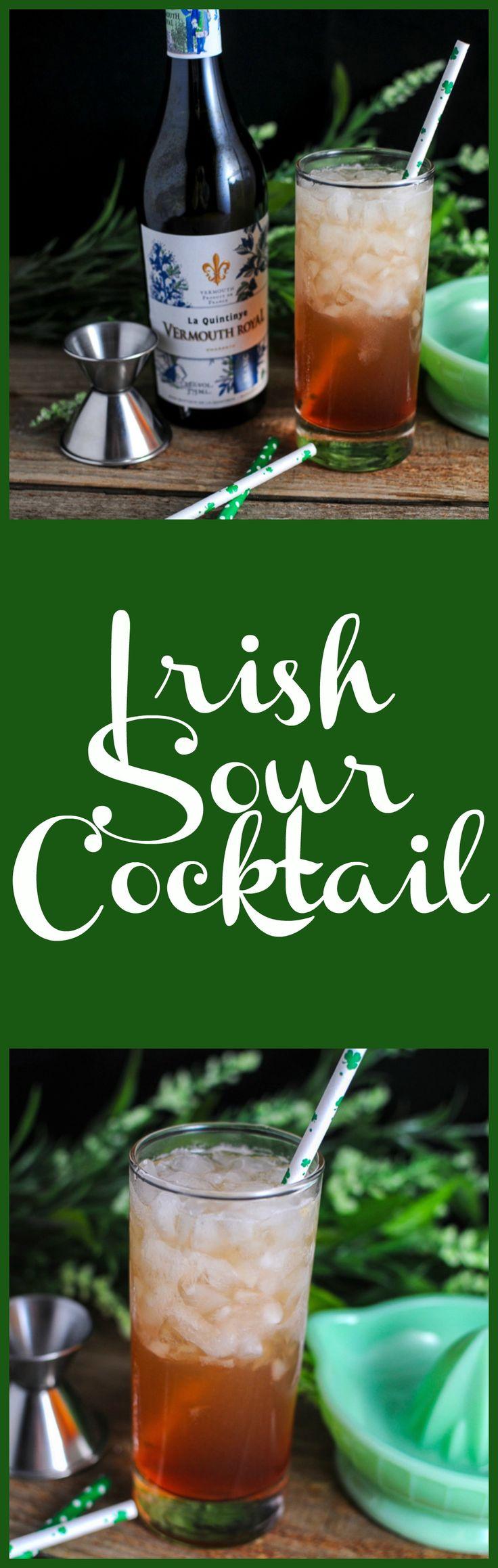 Irish Sour Cocktail, Whiskey, grapefruit, white vermouth, grenadine, Luxardo Maraschino, lemon