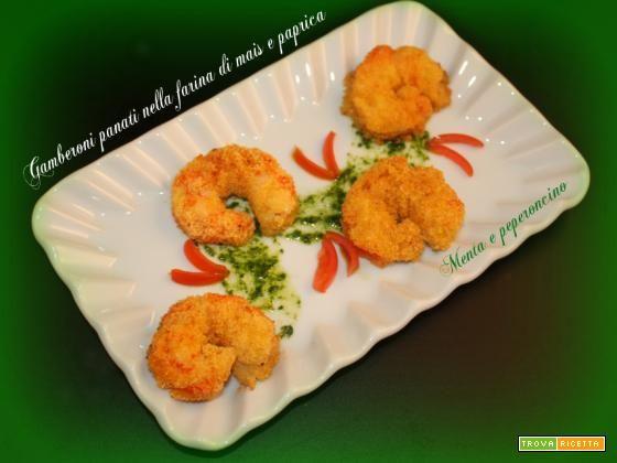Gamberoni panati nella farina di mais e paprica #ricette #food #recipes
