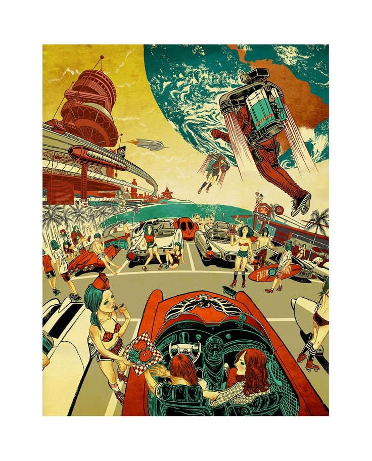"""Saw this print in a show in San Jose. I want! """"California dreaming 2099"""" by Jilipollo (full colour) full slide."""