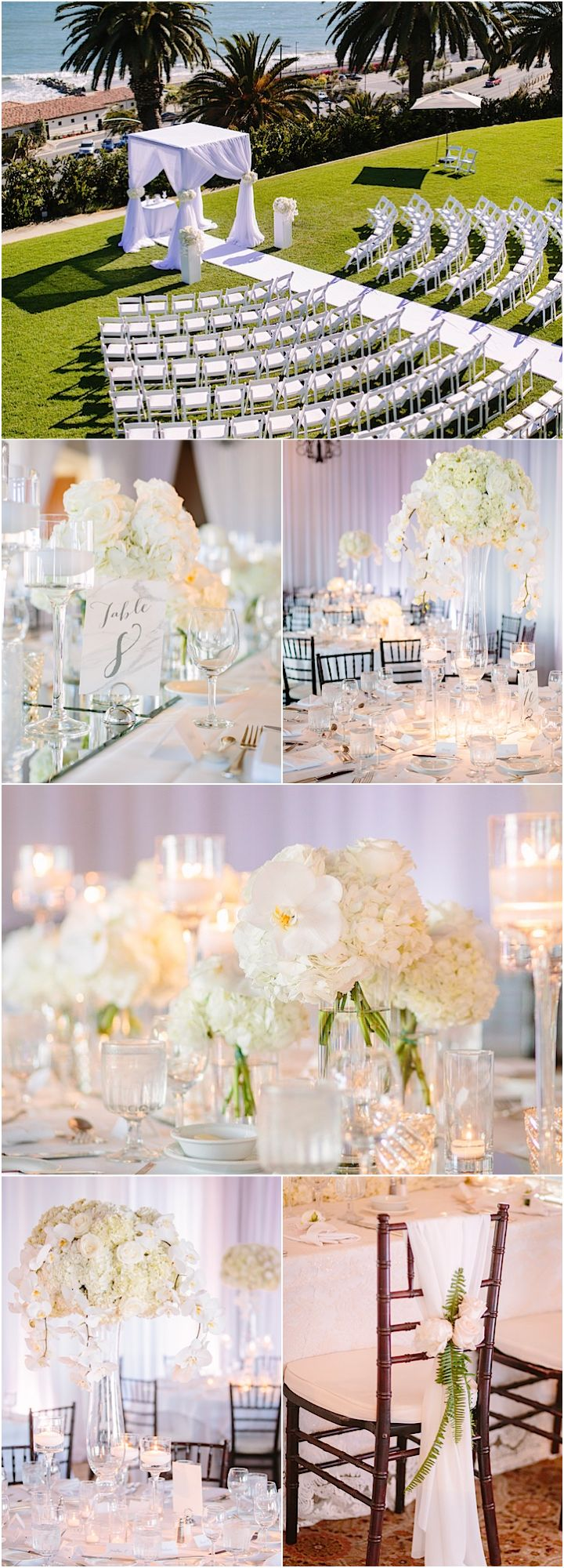 Photographer: Brian Leahy Photography; white wedding reception and ceremony theme
