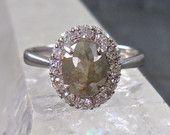 Anillo de diamante corte de gris rosa, compromiso moderno anillo, anillo de compromiso diamante Natural, Moissanite Halo, 14 kt oro blanco, único