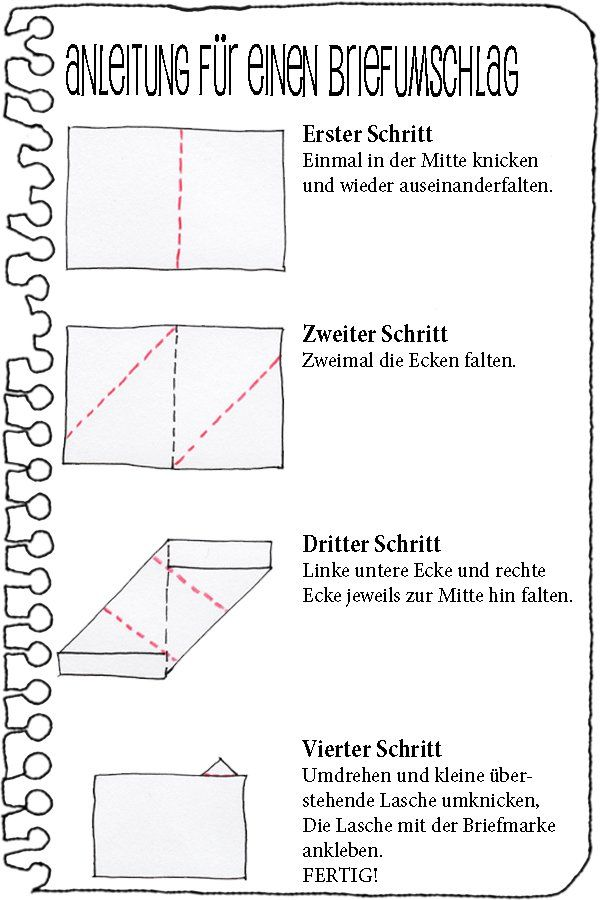 Anleitung fu00fcr einen Faltbrief : Hu00e4nde, Hu00fcte und Unterhosen