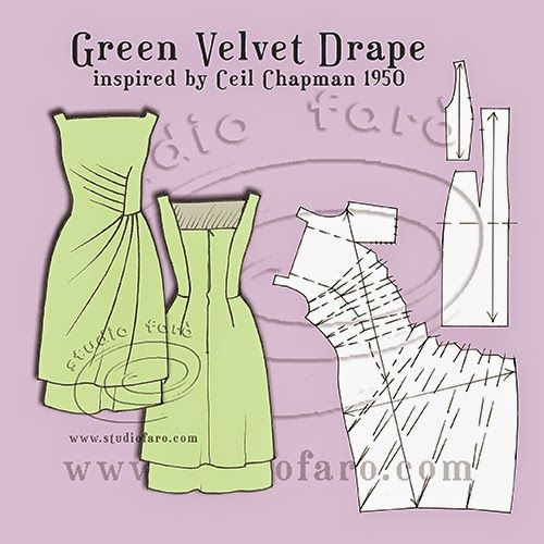 Green Velvet Drape - A homage to Ceil Chapman 1950 Over a year ago I found the image of this...