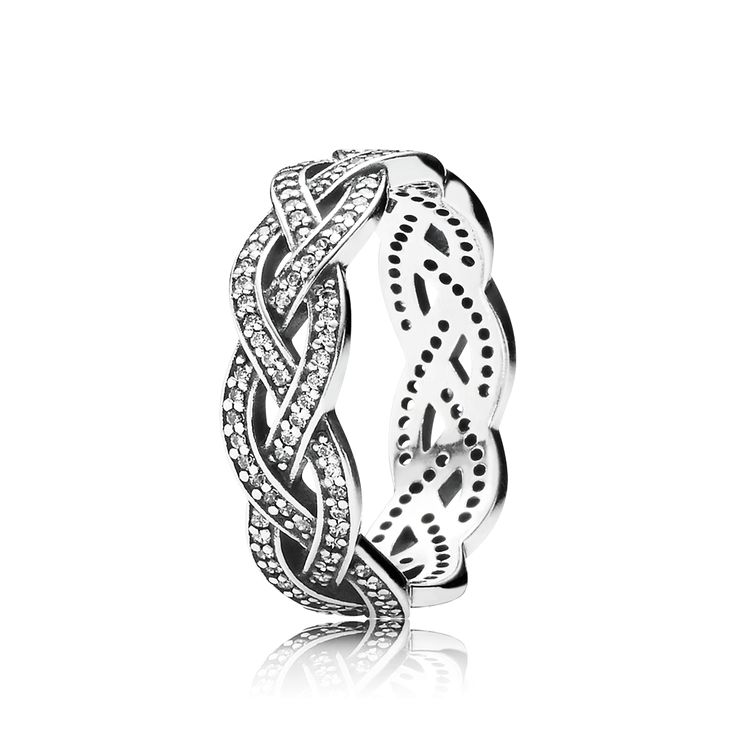 PANDORA | Braided silver ring with cubic zirconia
