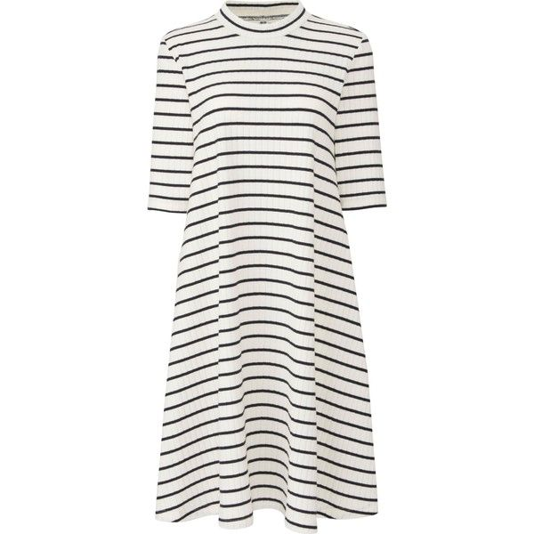 UNIQLO Women's Ribbed Cotton Flare Striped Dress (266.260 IDR) ❤ liked on Polyvore featuring dresses, off white, flared dresses, half sleeve dresses, uniqlo dress, flare dress and striped mini dress