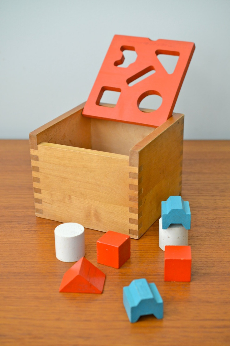 Creative Playthings Wooden Shape Sorter and Blocks Toy, Vintage, Made in Finland, 9 pieces,