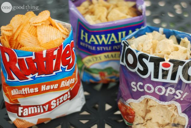 Turn chip bags into free standing serving bowls. Roll the bag from the bottom up, pushing the chips up as you go. Fold the told of the bag under to create a nice clean line for the top of the bowl.
