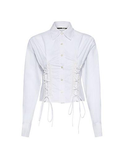 Short Corset Lace-Up Shirt by Designer McQ Alexander McQueen
