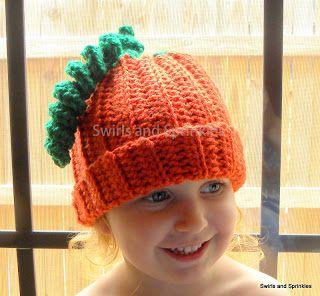 Swirls and Sprinkles: Free Easy Crochet Pumpkin Hat.  Size Toddler/Child