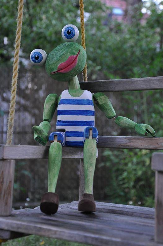 frog marionette, figure, puppet
