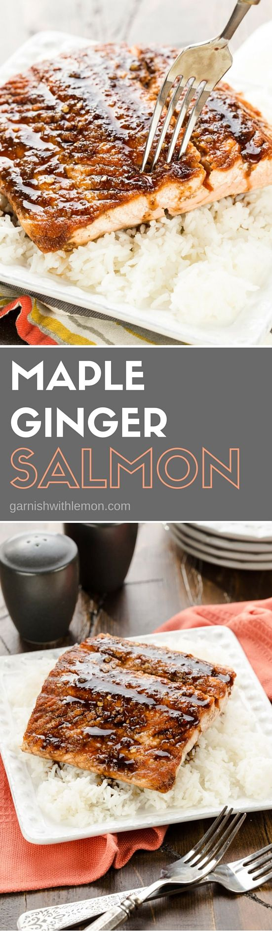 Looking to get more fish in your diet? This easy recipe for Maple Ginger Salmon will make a fish lover out of anyone! ~ http://www.garnishwithlemon.com