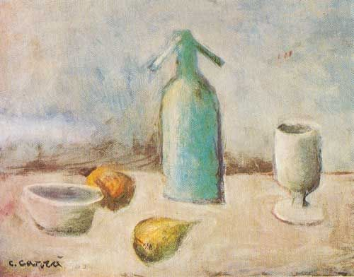 Carlo Carra,  Still Life with Siphon Fine Art Reproduction Oil Painting
