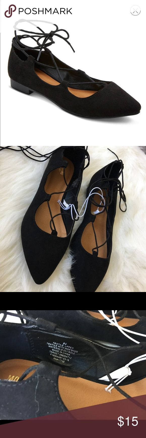 🎀 Black Lace-up Pointed Ballet Flat NWT NWT. Classic pointed Ballet flat with lace up ankle detail. Mossimo Supply Co Shoes Flats & Loafers