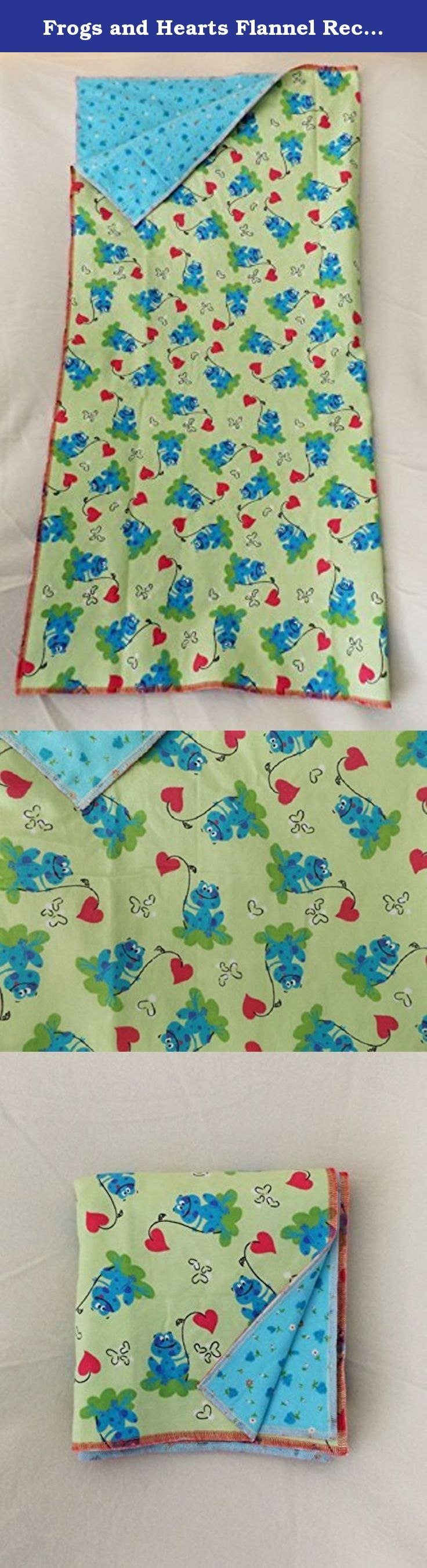Frogs and Hearts Flannel Receiving or Swaddling Blanket, Double Layer, 2 Layer Serged Blanket, New Design, Crib or Stroller Blanket. New design for 2015. Double layer flannel receiving or swaddling blanket with serged edges. New design allows for a flatter edge for easier swaddling, with less bulk. This new edge gives a smoother tuck with less of a bulge, so the tuck is more snug. Two layers of premium 100% cotton flannel provide a warm and soft blanket for your baby. Blue frogs with pink...