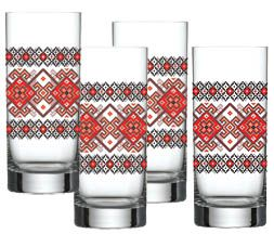 Tall embroidered drinking glass.