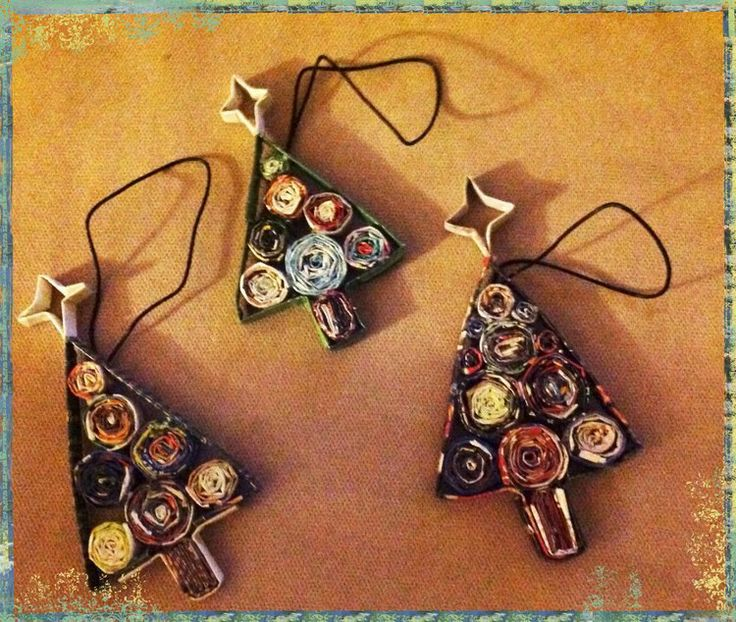 magazine rolled ornaments - the first project for CRAFT!  Beer and Art by @Donna reCREATE.org