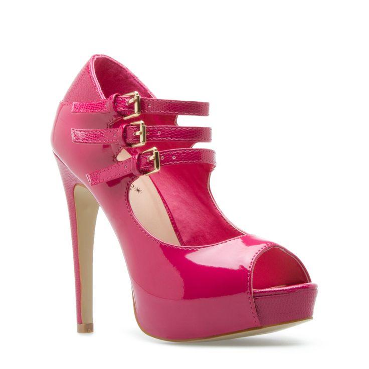 pink patent peep toe