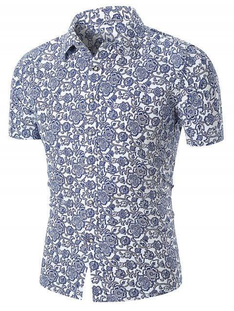 ebc78cc4da91  commissionlink Short Sleeve Allover Flower Print Causal Shirt - BLUE   Mensfashion  shirts  menswear  menstyles  mensapparell  gq