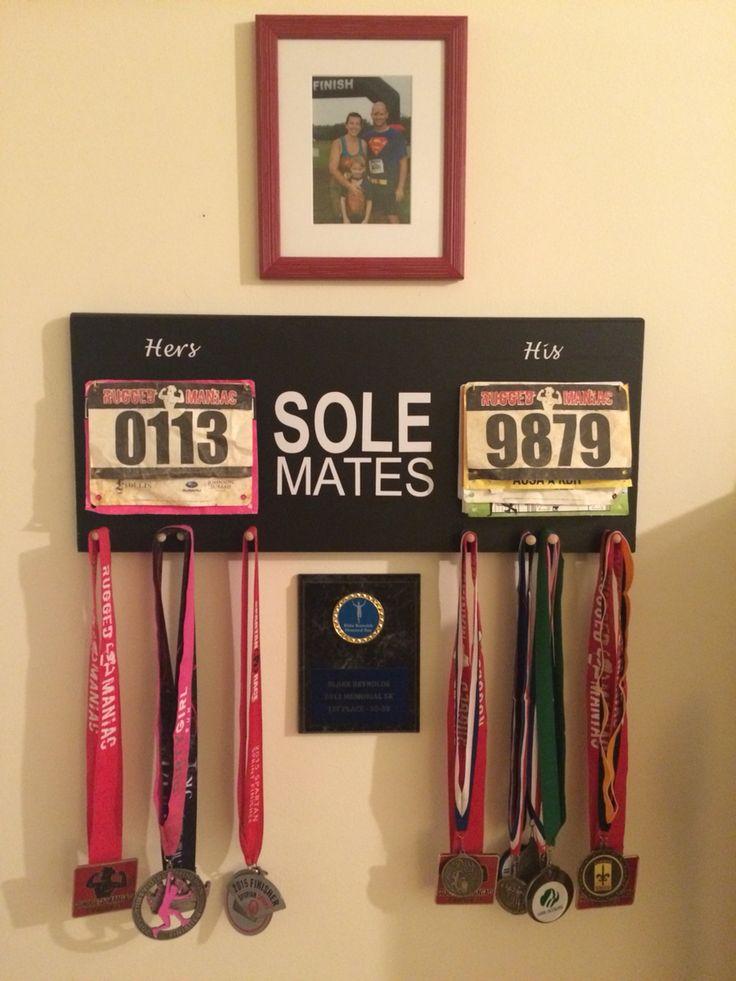 "His and hers race or run bib and metal display. DIY ""Sole Mates"""
