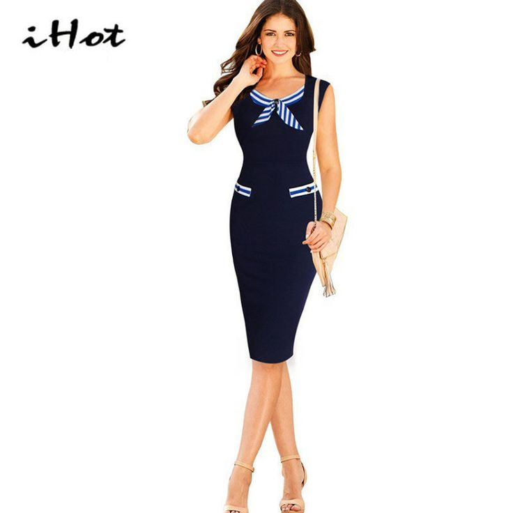 >> Click to Buy << IHOT Bow Sailor Dress Women Summer Elegant Office working clothes Casual Dresses Bodycon Ladies party Vestidos robe moulante #Affiliate