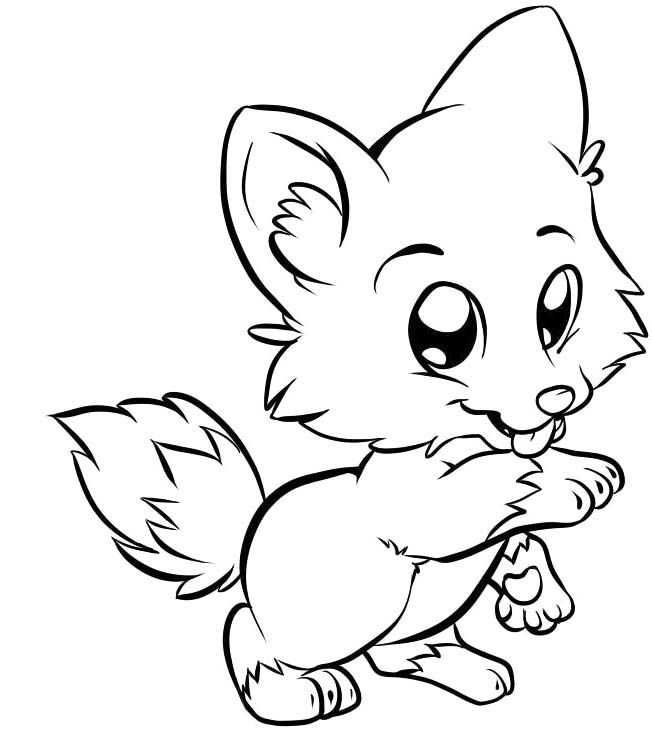 Cute Baby Fox Easy Coloring Page - Foxes are very ...