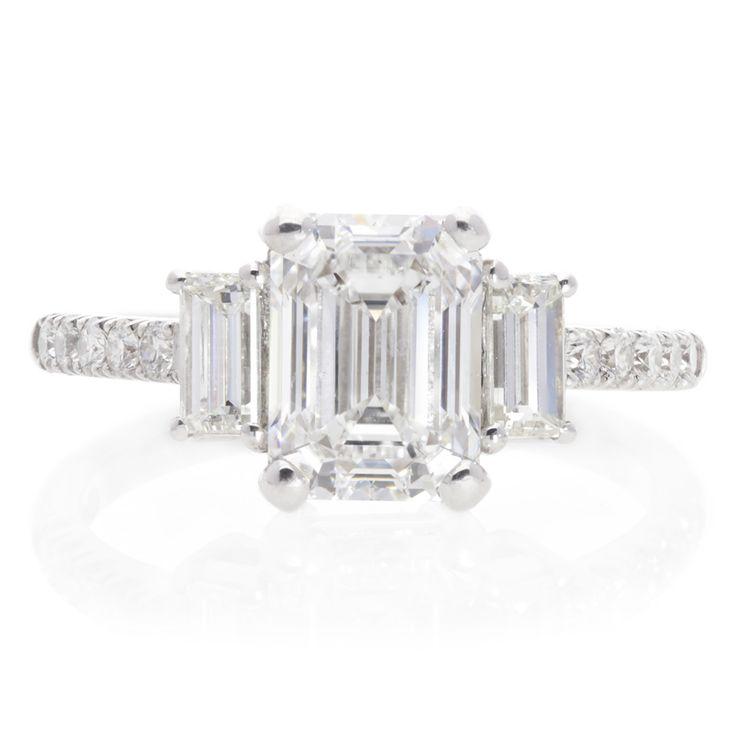 18K White Gold Emerald Cut Diamond Ring For Sale by Uwe Koetter.    www.uwekoetter.com