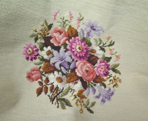 Finished Needlepoint Canvas with Floral on by marypearlsvintage