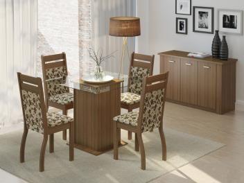 Conjunto de Mesa com 4 Cadeiras Estofadas Madesa - Sofia-de R$ 1.099,00 por R$ 399,00   em até 10x de R$ 39,90 sem juros no cartão de crédito  ou R$ 359,10 à vista (10% Desc. já calculado.)