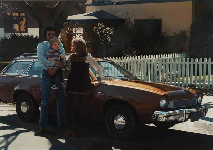 Robert Bechtle -Berkeley Pinto (John De Andrea and his Family next to Bechtles Car) 1976 oil on canvas