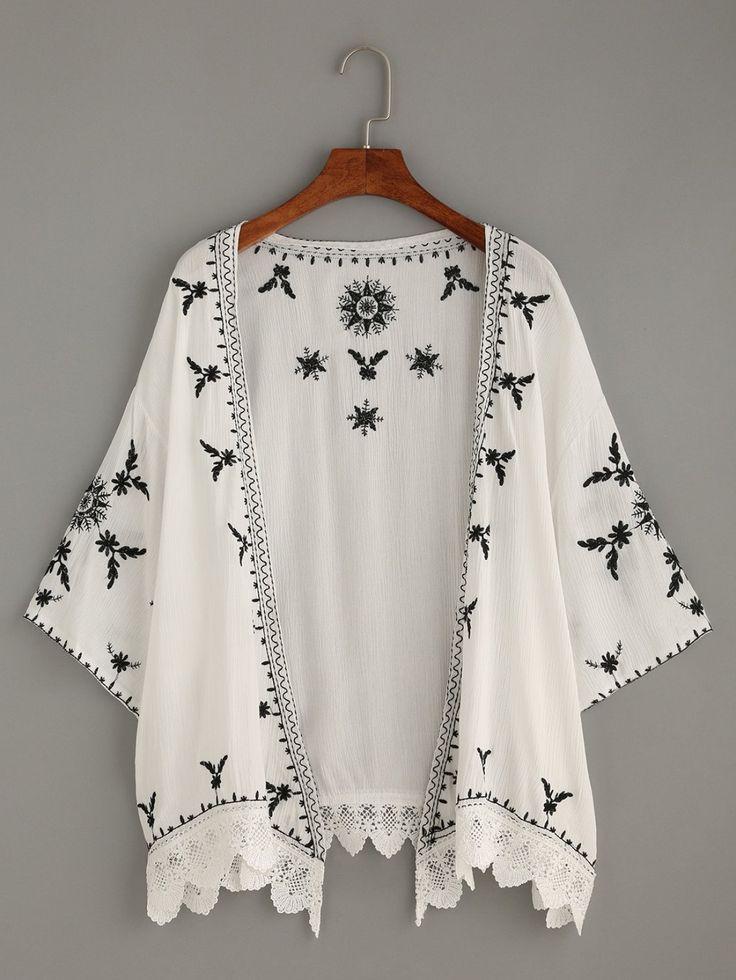 Kimonos by BORNTOWEAR. Scalloped Crochet Trimmed Embroidered Kimono