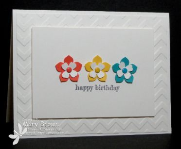 Calypso Coral, Daffodil Delight, Bermuda Bay.  VERY clean and simple Birthday card! Stamp Set:  Something to Say