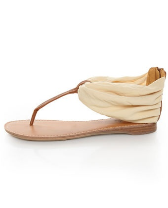 Qupid Agency 186 Beige Stretch Chiffon Ankle Cuff Thong Sandals Vegan!
