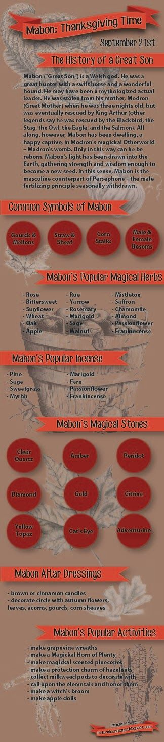 Autumn Equinox:  Mabon Infographic, for the #Autumn #Equinox.