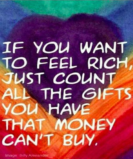 """If you want to feel rich…"" ~ anon • image: Billy Frank Alexander Design on…"