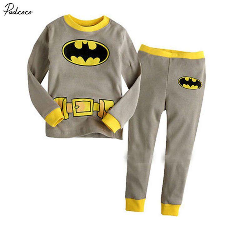 >> Click to Buy << 2017 New Fashion  Baby Toddler Boy Kid Batman Superman Clothes Sleepwear Pajama Pjs 2 Pcs Set 1-7 Years  #Affiliate