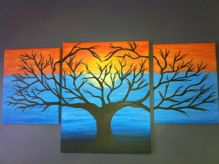 three canvas heart tree painting painting ideas