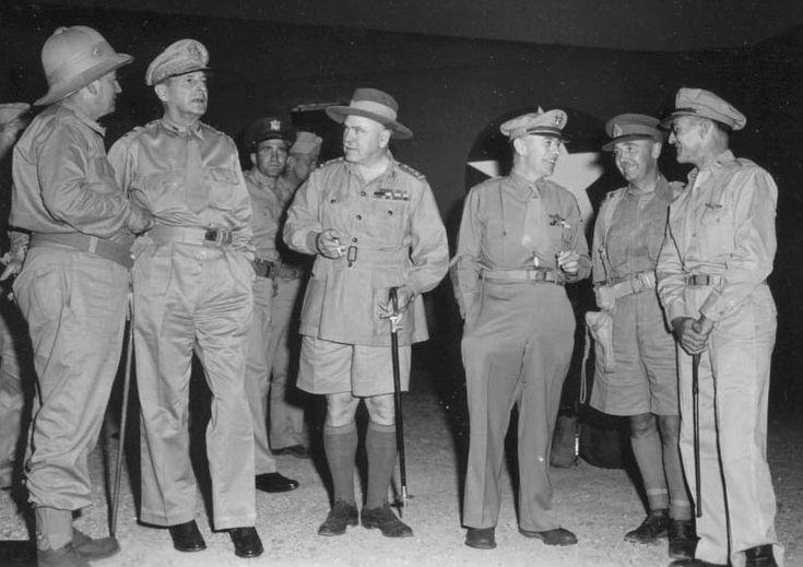 F.M. Forde, Douglas MacArthur, Thomas Blamey, George C. Kenney, C.A. Clowes, Kenneth Walker
