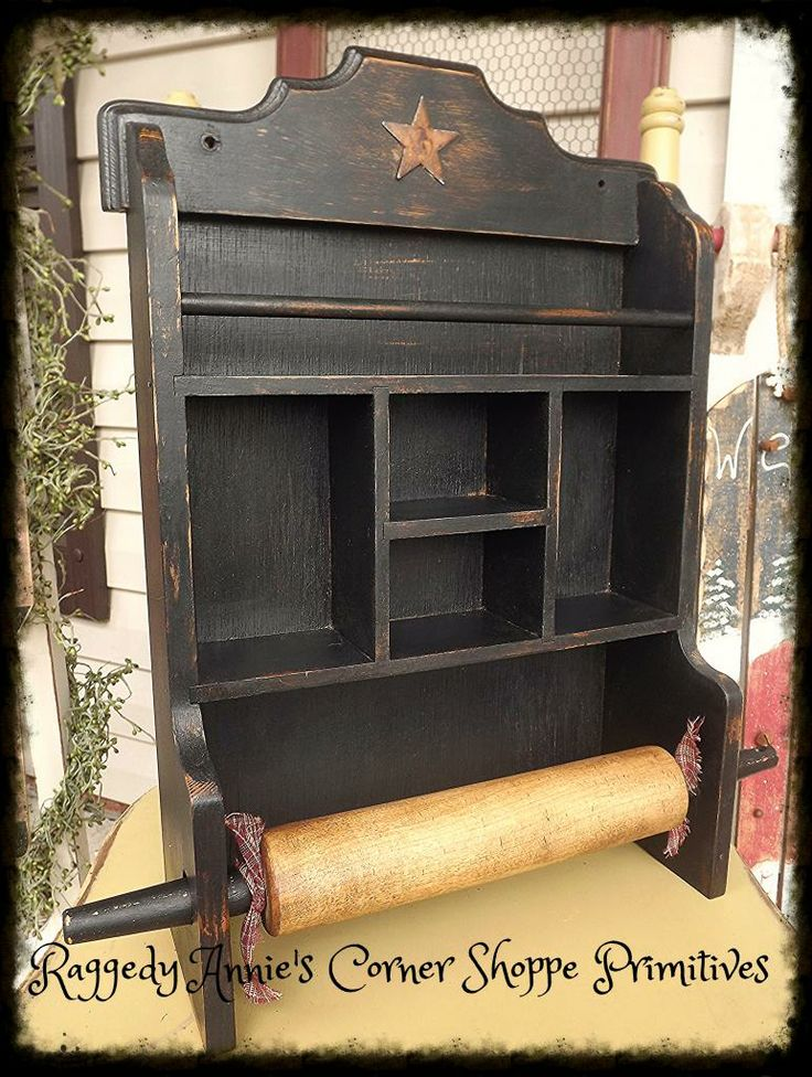 Primitive Spice Rack/Cubby in distressed black with Rolling Pin.. Rusty Star Accent.. Homespun Fabric Ties