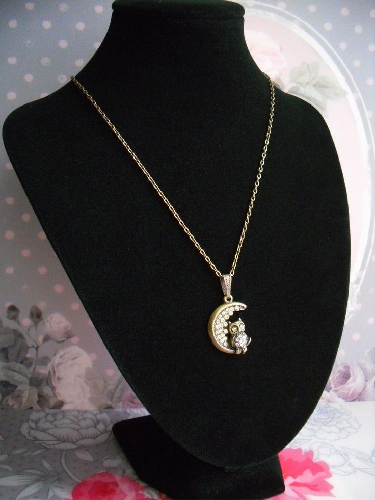 Collier vintage strass Swarovski métal bronze chouette : Collier par les-tresors-de-lulubelle