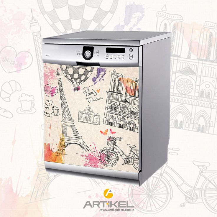 """""""Paris Bulaşık Makinesi Sticker"""" ile makineniz farklı bir görünüm kazansın... #sticker #beyazeşya #bulaşıkmakinesisticker"""