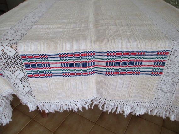 204. Vintage flax linen tablecloth pure flax linen