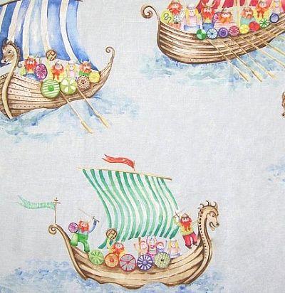 идеи для штор: детские ткани Viking Armada Small Blue Voyage Decoration