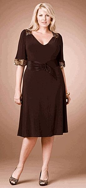 http://www.delightfullycurvy.com/plus-size-cocktail-dresses-sleeves-look-great/  Brown plus size cocktail dress with sleeves.