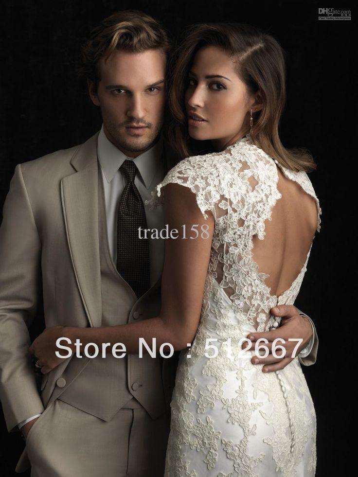 tan groom suits | 2014 goedkoop tan man pak/beige bruidegom bruidsjonkers mannen smoking ...