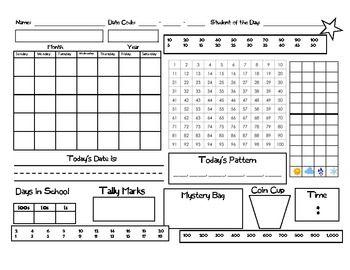 Math meeting worksheet- would work with Saxon math.