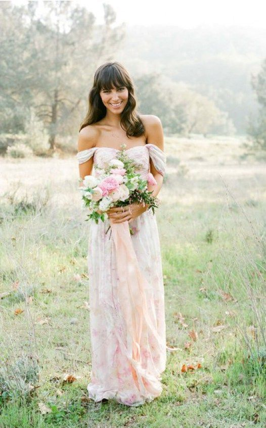 Romantic flowy bridesmaid dress in floor length and floral print   by Plum Pretty Sugar   http://emmalinebride.com/bridesmaids/floral-print-bridesmaid-dresses/