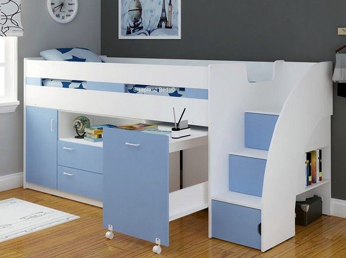 White and Light Blue Midsleeper Cabin Bed | Sleepland Beds