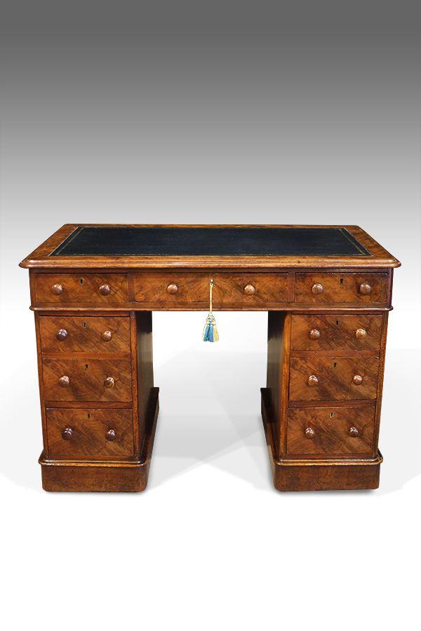 Good Quality 19th Century Walnut Pedestal Desk Of Neat Small