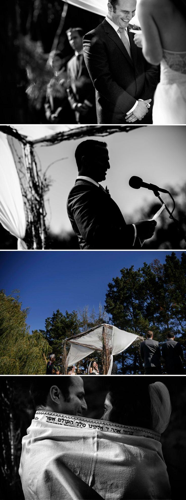 White rustic chuppah / a Vera Wang Bride / a Jewish travel-themed barn wedding / at Olympia's Valley Estate, Petaluma, California, USA / Photography by Chrisman Studios / http://www.smashingtheglass.com/2016/08/02/vera-wang-bride-jewish-travel-themed-barn-wedding-olympias-valley-estate-petaluma-california-usa/